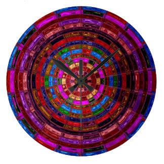 Målat glassmosaikabstrakt #2 stor rund klocka