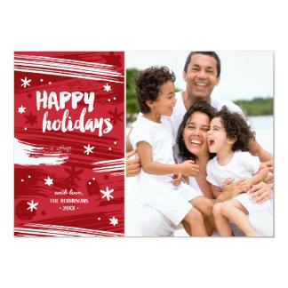Målat modernt helgdagfoto för jul | 12,7 x 17,8 cm inbjudningskort