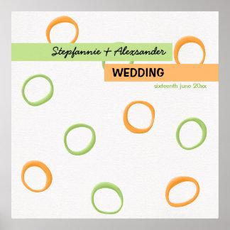 Målat Retro cirklar den gröna bröllopaffischen Print