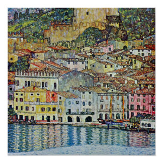 Malcesine på sjön Garda av Gustav Klimt Poster