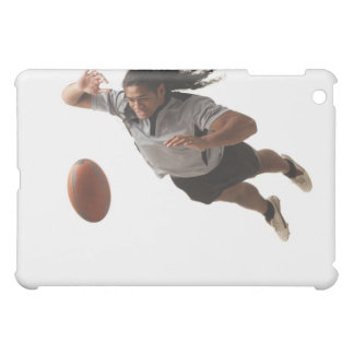 Male rugbyspelaredykning för boll iPad mini mobil skal