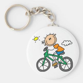 Male stick figurcyklistTshirts och gåvor Rund Nyckelring