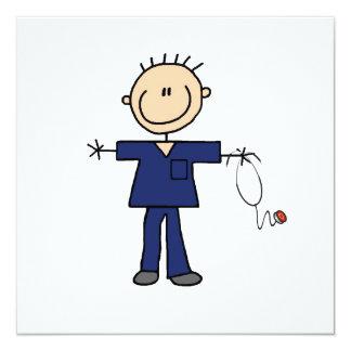 Male stick figursjuksköterska - blått fyrkantigt 13,3 cm inbjudningskort