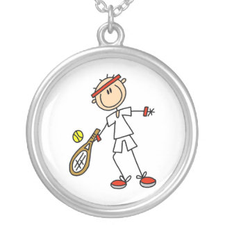 Male tennisspelare silverpläterat halsband