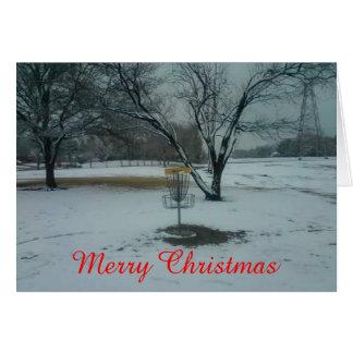 Målet för god juldiskettgolf i snökort hälsningskort
