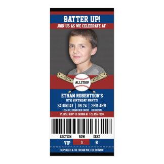 Mall för baseballfödelsedagfoto 10,2 x 23,5 cm inbjudningskort