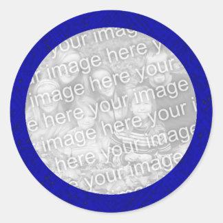 Mall för blåttfotoklistermärke runt klistermärke