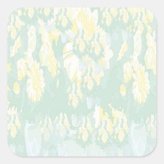 Mall för blommigt för Lightshade gultgrönt Fyrkantigt Klistermärke
