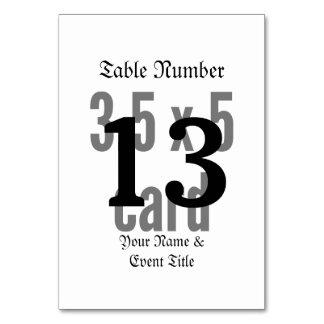Mall för bordkortlodrät bordsnummer