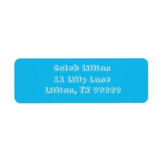 Mall för etikett för adress för bassängpartyblått returadress etikett