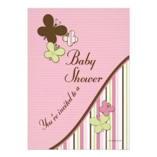 Mall för fjärilsbaby showerinbjudan