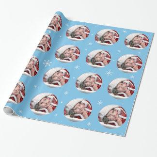 Mall för foto för singel för snöjordklot presentpapper