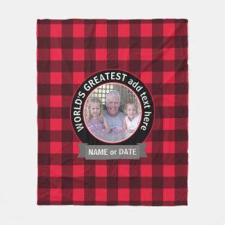 Mall för foto för världsmästarepappamorfar fleecefilt
