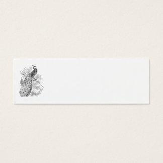 Mall för illustration för påfågel för vintage1800s litet visitkort