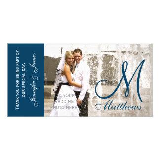 Mall för kort för foto för blåttbrölloptack skräddarsydda fotokort