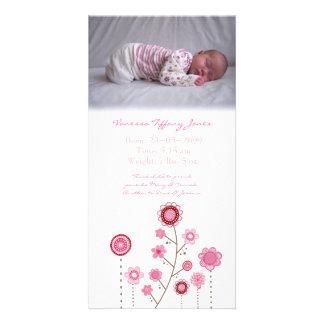 Mall för kort för foto för flickafödelsemeddelande