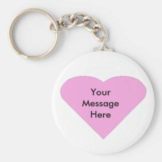 Mall för meddelande för rosakärlekhjärta rund nyckelring