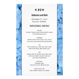 Mall för meny för bröllop för blåtthimmelvanlig