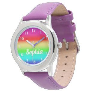 7a554e056498 Mall för namn för regnbågeflickapersonlig gullig armbandsur