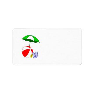 Mall för paraply för strandbollbassäng adressetikett
