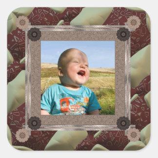 Mall för täckeentusiastfoto fyrkantigt klistermärke