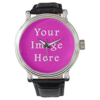 Mall för trend för neonshock rosafärg tom armbandsur