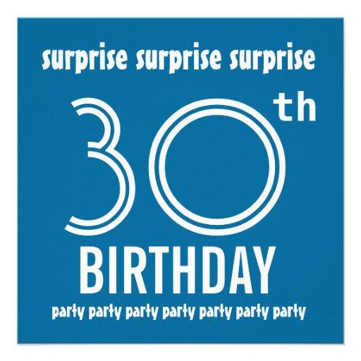 Mall för vit för blått för ÖVERRRAKNING30års födel Personliga Inbjudningskort