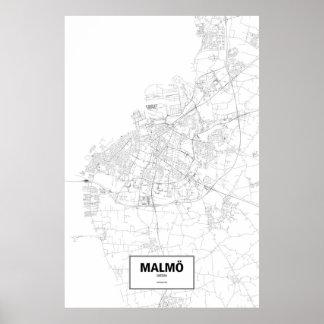 Malmö sverige (svarten på vit) poster
