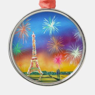 Målning av det Eiffel torn i Paris Julgransprydnad Metall