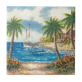 Målning av en segelbåt i Hawaii Kakelplatta
