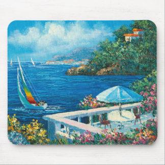 Målning av en segelbåt musmatta