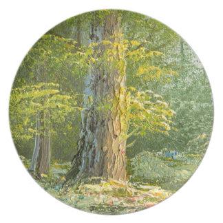 Målning av en skog med floden fest tallrikar