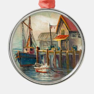 Målning av ett fartyg som binds till en hamnplats julgransprydnad metall