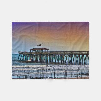 Målning av pir på Myrtle Beach - ullfilt Fleecefilt