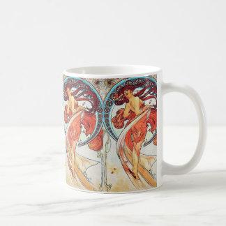 Målning för art nouveau för Alphonse Mucha Vit Mugg