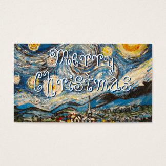 Målning för den Starry natten målar god jul om Visitkort