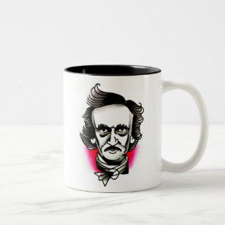 Målning för Edgar Allan Poe porträttvattenfärg Två-Tonad Mugg