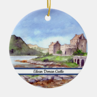 Målning för Eilean Donan slottvattenfärg Julgransprydnad Keramik