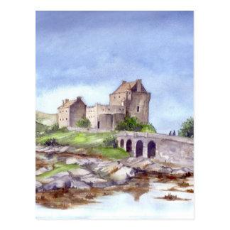 Målning för Eilean Donan slottvattenfärg Vykort
