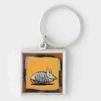 Målning för gullig rolig modern konst för bältdjur fyrkantig silverfärgad nyckelring