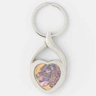 Målning för konst för amerikanvattenSpaniel Twisted Heart Silverfärgad Nyckelring