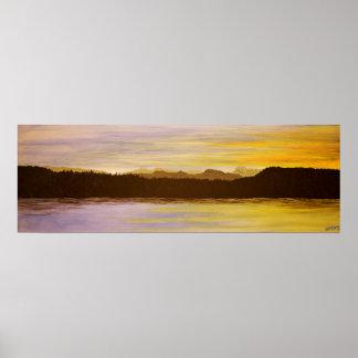 Målning för sjöområdessolnedgång av Heidi Piercy Poster