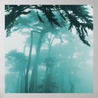 Målning för skogendimmafoto posters