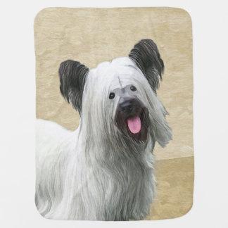 Målning för Skye Terrier - gullig original- Bebisfilt
