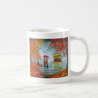 Målning för spårvagn för paraply för regnig kaffemugg