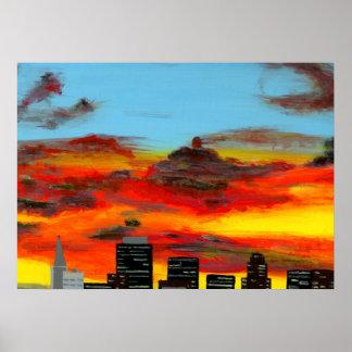 Målning för stadsScape akryl Poster