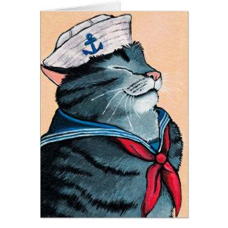 Målning för tabby katt för sjömankatt nautisk hälsningskort