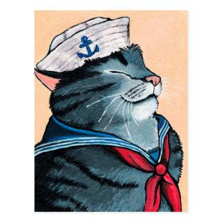 Målning för tabby katt för sjömankatt nautisk vykort