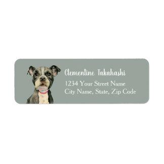 """Målning för vattenfärg för hund för tjur """"för returadress etikett"""