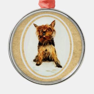 Målning för Yorkshire Terrier Julgransprydnad Metall